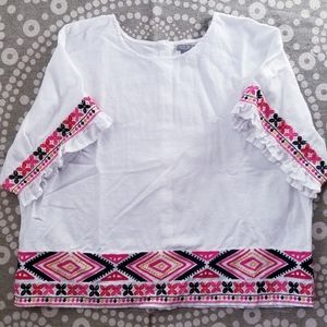 NWOT Embroidered Ruffle Sleeve Blouse